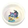 Trixie Voerbak van keramiek met motief, Blauw Katje, 0.3L/ø11cm, wit aan een speciale prijs in de PetsExpert Kattenwinkel
