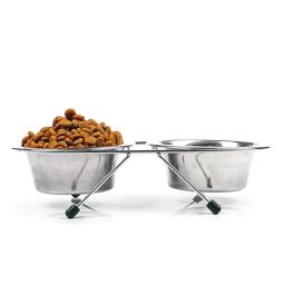 Dobbelt foderskål og skålestativ kvalitetsprodukter til Hund, til en fair pris