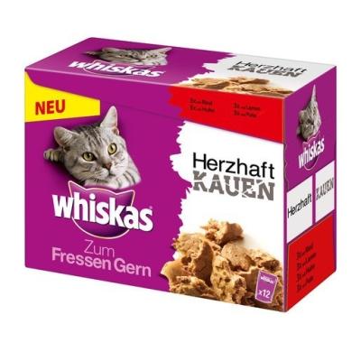 Whiskas Zum Fressen Gern Multipack Herzhaft Kauen mit Fleisch 12x85 g