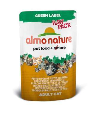 Almo Nature Green Label Raw Pack Wet Hühnerbrust und Entenfilet 55 g