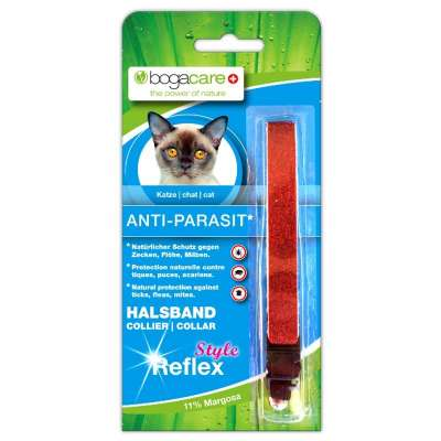 Bogacare Anti-Parasit Vlies Halsband Katze Style reflex rot