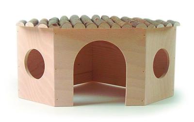 Pitti Zwergkaninchen Eckhaus Holz Beige