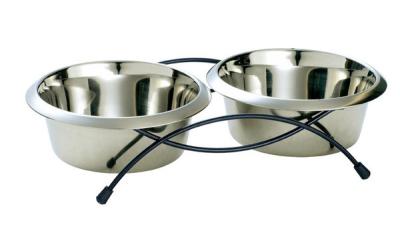 Hunter Stainless steel twin feeding bowl, Double, 850ml 440 ml