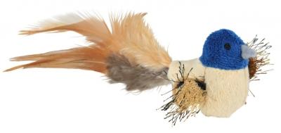 Trixie Plush Bird with Feathers Beige 8 cm