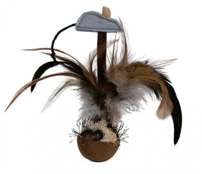 Trixie Federball mit Maus Braun 15 cm