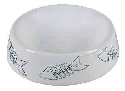 Trixie Ceramic Bowl with Fish Pattern Valkoinen 250 ml