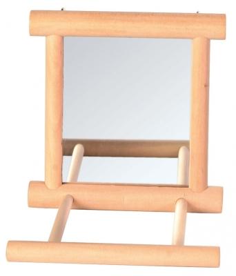 Trixie Spiegel met houten frame Beige 9x9 cm