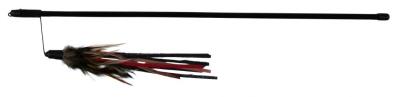 Trixie Spielangel mit Lederbändchen und Federn Schwarz 50 cm