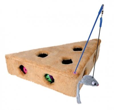 Trixie Cat's Cheese - Spielangel und 3 Spielbällen Hellbraun 36x8x26 cm