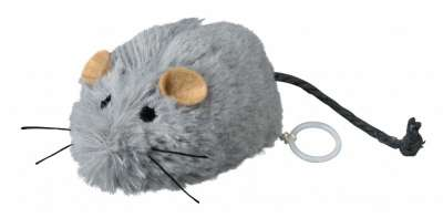 Trixie Zappelmaus zum Aufziehen, Plüsch Grau 8 cm