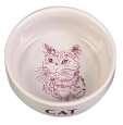 Trixie Skål med Motiv Katt Keramikk Hvit