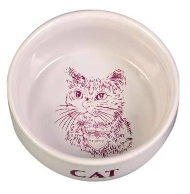 Trixie Skål med Motiv Katt Keramikk Hvit 300 ml