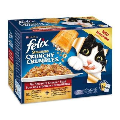 Felix Multipack Sensations Crunchy Crumbles Fleisch Mix 10x100 g