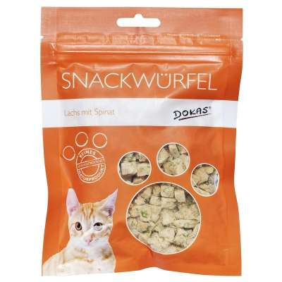 Dokas Cat Treats Dice salmon with spinach Laks & Spinat 10x25 g