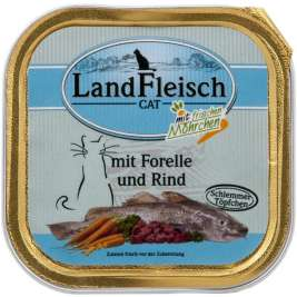 Cat Gourmet Pot Trout & Beef with fresh Vegetables Tray Landfleisch 4003537003489