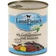 Landfleisch Pur Gevogelte Harten & Seelachs met verse groenten Blikje 800 g - Hondenvoer voor volwassen honden