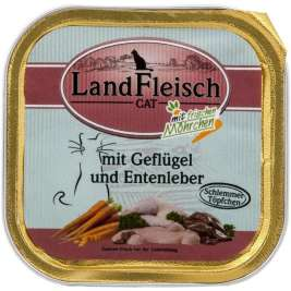 Cat Gourmet Pot Poultry & Duck liver with fresh Vegetables Tray Landfleisch 4003537001980