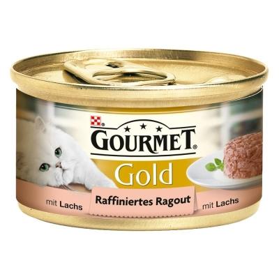 Purina Gourmet Gold - Raffiniertes Ragout mit Lachs 85 g