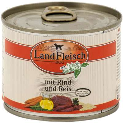 Landfleisch Dog Pur Beef & Rice extra lean with fresh Vegetables in Can  800 g, 400 g, 195 g