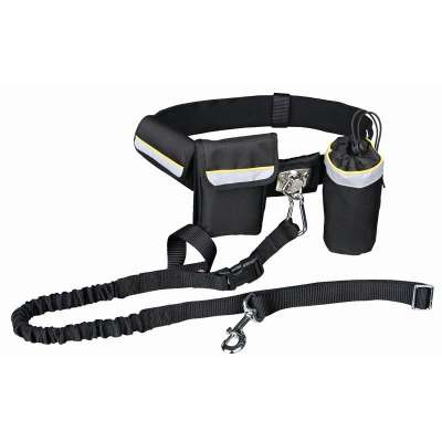 Trixie Waist Belt with Leash, black Svart