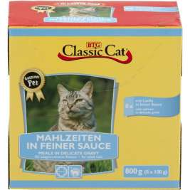 Classic Cat Meal in Fine Sauce with Salmon Pouch Bag  8x100 g