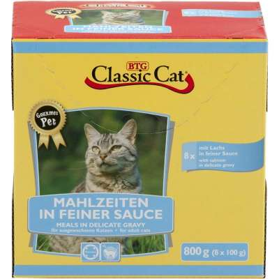Classic Cat Meal in Fine Sauce with Salmon & Trout Pouch Bag 8x100 g