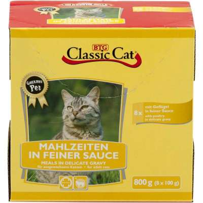 Classic Cat Meal in fine Sauce with Poultry Pouch Bag 8x100 g
