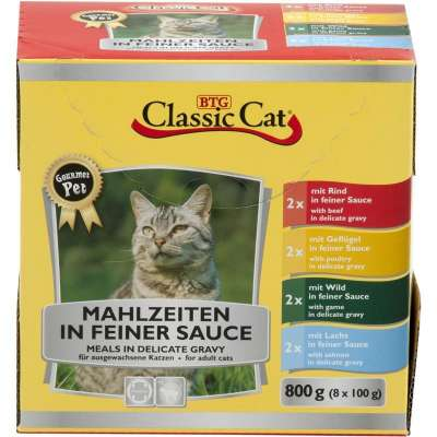 Classic Cat Meal in fine Sauce with 4 kinds Mix Pouch Bag 8x100 g