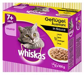 Whiskas Portionsbeutel Multipack 7+ Geflügelauswahl in Sauce 24x100 g, 12x100 g