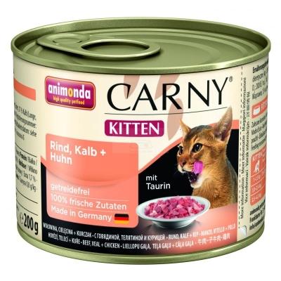 Animonda Carny Kitten cu Carne de Vită, Vițel + Pui 200 g