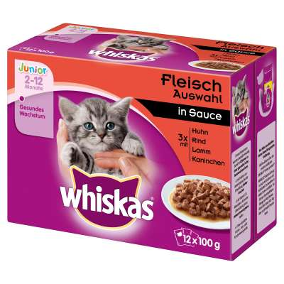 Whiskas Junior Lihalajitelma Kastikkeessa 12x100 g, 4x100 g