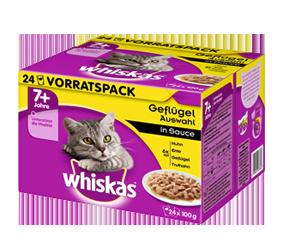 Whiskas 24-Multipack 7+ Gevogelteselectie in saus 24x100 g, 12x100 g