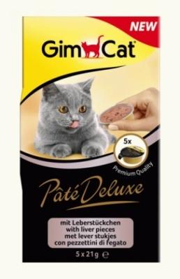 GimCat Pâté Deluxe with liver pieces 5x21 g