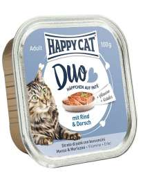 Happy Cat Duo Hapjes Rund & Kabeljauw  100 g