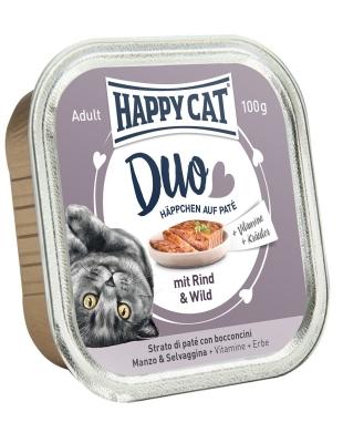 Happy Cat Duo Hapjes met Rund & Wild 100 g