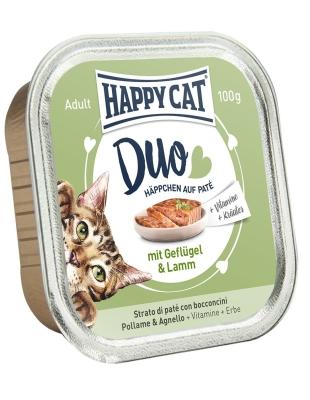 Happy Cat Duo Bocconcini su paté con Pollame & Agnello Vaschetta 100 g