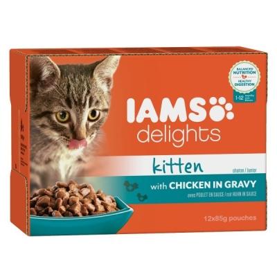 Iams Blandpacken Delights Kitten i sås 12x85 g