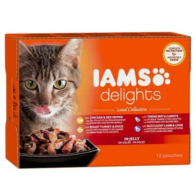 Iams Delights Land & Sea Collection in Gravy 48x85 g, 24x85 g, 12x85 g