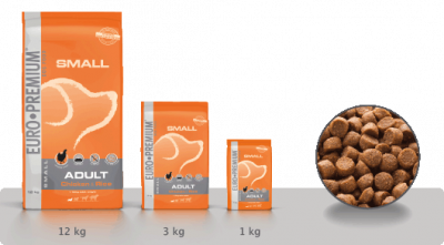 EURO-PREMIUM Small Adult Huhn & Reis  12 kg, 3 kg, 1 kg