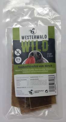 Westerwald-Snack Kauhautstreifen Hirsch (5 Stück/15cm) 200 g Hirsch