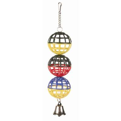 Trixie 3 Lattice Balls with Chain and Bell 16 cm