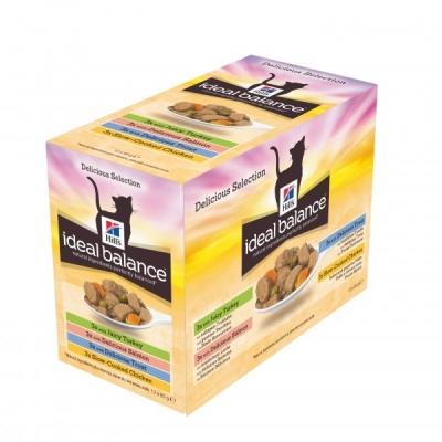 Hill's Ideal Balance Feline Adult Multipack med Kyckling, Kalkon, Öring och Lax 12x85 g