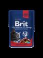 Brit Premium Cat Pouches Naudanlihaa ja Herneitä 100 g - Ruokaa varten täysikasvuisille kissoille