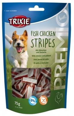 Trixie Premio Fish Chicken Stripes z Kurczakiem i Mintaja Kura  & Czarniak/Mintaj 75 g
