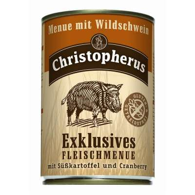 Christopherus Exclusive Meat Menu - Wild boar, Sweet potato and Cranberry Can  400 g, 800 g, 200 g