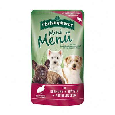 Christopherus Mini Menu – Partridge, Spaetzle & Cranberry Pouch  125 g
