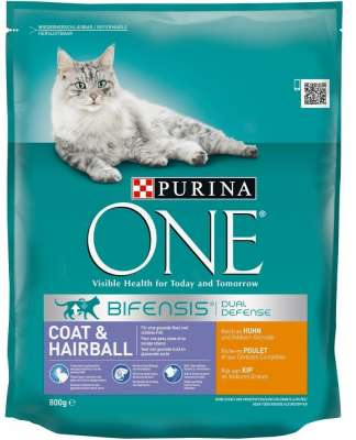 Purina ONE Bifensis Coat & Hairball, Rich in Chicken and Whole Grains 800 g