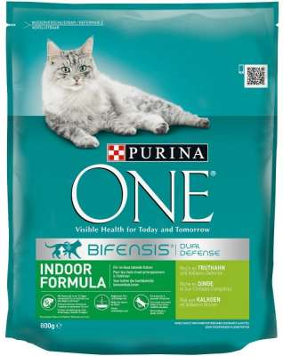 Purina ONE Bifensis Indoor Formula - Turkey & Grain-Crops 800 g, 3 kg, 1.5 kg