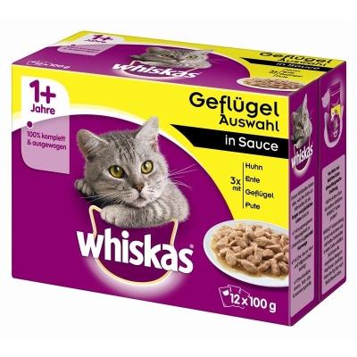 Whiskas Multipack 1+ Siipikarja Kastikkeessa 12x100 g, 24x100 g, 4x100 g