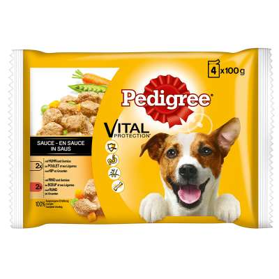 Pedigree Vital Protection Multipack Chicken, Beef and Vegetables in Sauce  4x100 g